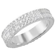 Sterling silver micro pave three row Cubic Zirconia band ring